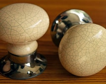 A pair of Crackle Glaze Door Knobs / Antique White , Blue Grey and Chrome !