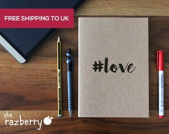 A5 Kraft Notebook Vintage Notebook Hashtag Love Quote Emotion Birthday Present Notebook Notepad A5 Size Blank Paper Stationery Art Notepad