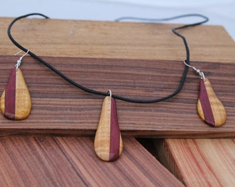 Wooden Jewelry Set in Maple and Purpleheart