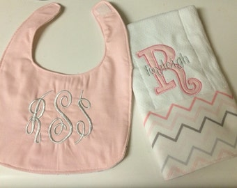 Monogrammed bib and burp cloth pink and grey baby girl baby shower gift set