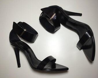 Zara RARE Black Ankle Strap Heels SZ EU 38