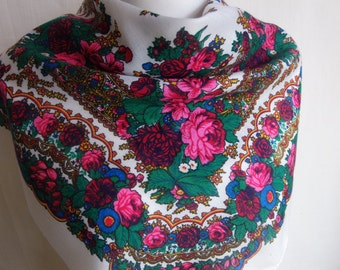 White Russian scarf,shawl with red roses and flowers, winter  accessory