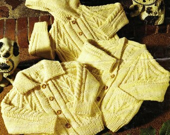 Instant PDF Download Vintage Row by Row Knitting Pattern for a Baby Childs Aran Cardigan Jacket Coat with V Neck,Collar or Hood Chest 20-28""