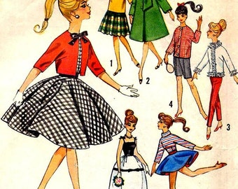 Instant PDF Download Vintage Sewing Pattern a Full Wardrobe of Teenage Dolls Clothes for 11 1/2 inch Teenage Dolls like Barbie