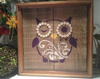 Rustic Wood Owl sign