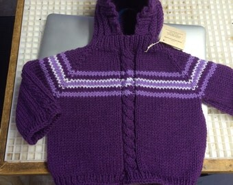 18-24 month Hand Knit Hooded Baby Sweater with Zipper in the back