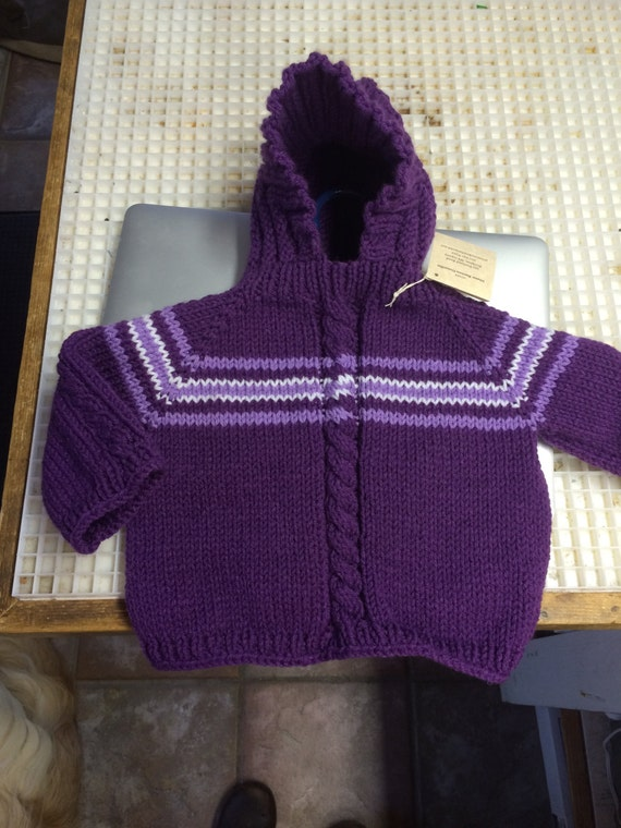 18-24 month Hand Knit Hooded Baby Sweater with Zipper in the