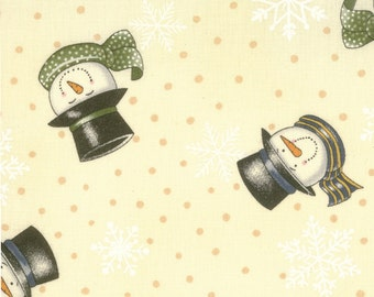 Makin' New Friends by Deb Strain  19411 16 Cream  with Snowmen Quilting Fabric by 1 Yard Increments