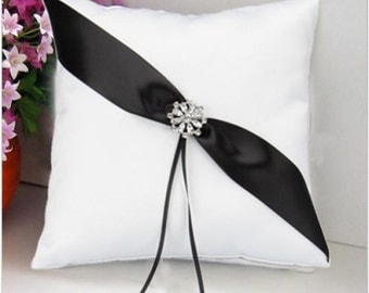 Elegant Wedding Ring Pillow White-black....Free Shipping in US!
