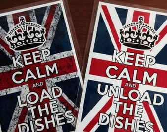 KEEP CALM Laminated Reversible Magnetic Dishwasher Sign | Geek Kitchen | Clean Dirty Dishwasher Magnet |Union Jack