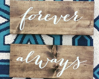 Forever & Always Wedding Reception Chair Signs Decor