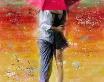 Couple in the Rain - art painting, landscape painting, wall decor, oil painting, abstract painting, 20x28in