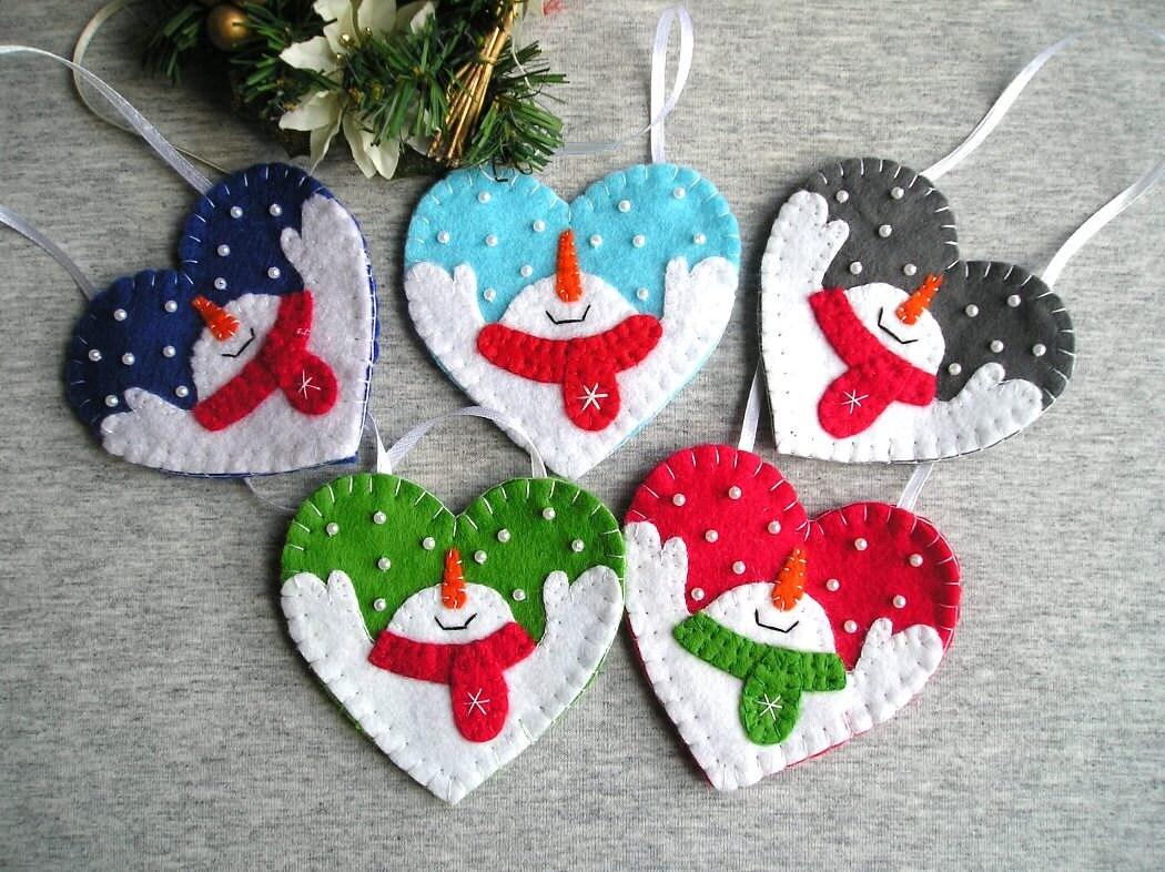 Christmas snowman tree ornaments felt snowman home by for Christmas snowman decorations