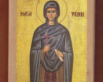 St Xenia the Deaconess of Rome Orthodox Icon,monk Michael, Mount Athos.Christian orthodox icon. FREE SHIPPING