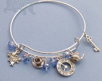 Fairytale Charm Bracelet - inspired by Alice in Wonderland and Alice through the Looking Glass - adjustable bangle - Fairytale Character