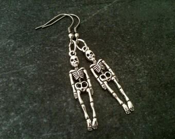 Skeleton earrings, skull earrings, halloween earrings, stainless steel hook, zombie jewelry, geek geeky geekery jewelry, goth