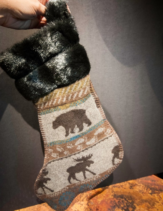 Faux Fur Trimmed Vintage Moose and Bear Stocking