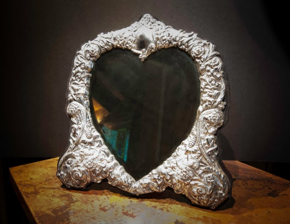 Large Ornate Repousse Sterling Silver Dressing Mirror from England