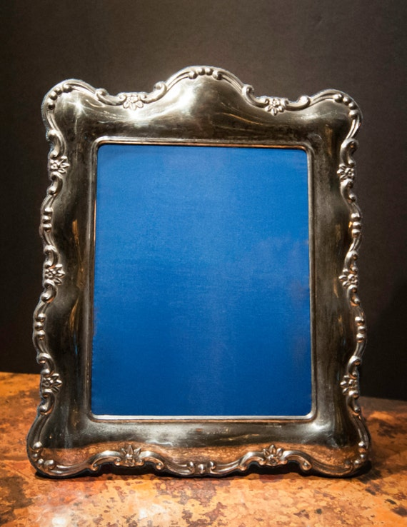 Large English Nickel Plated Sterling Silver Vintage Photo Frame