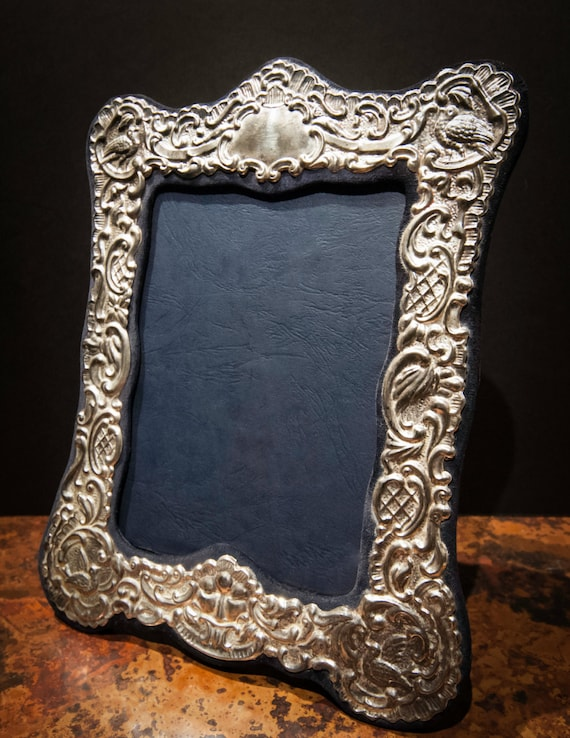 Large Fine English Repousse Sterling Silver Photo Frame