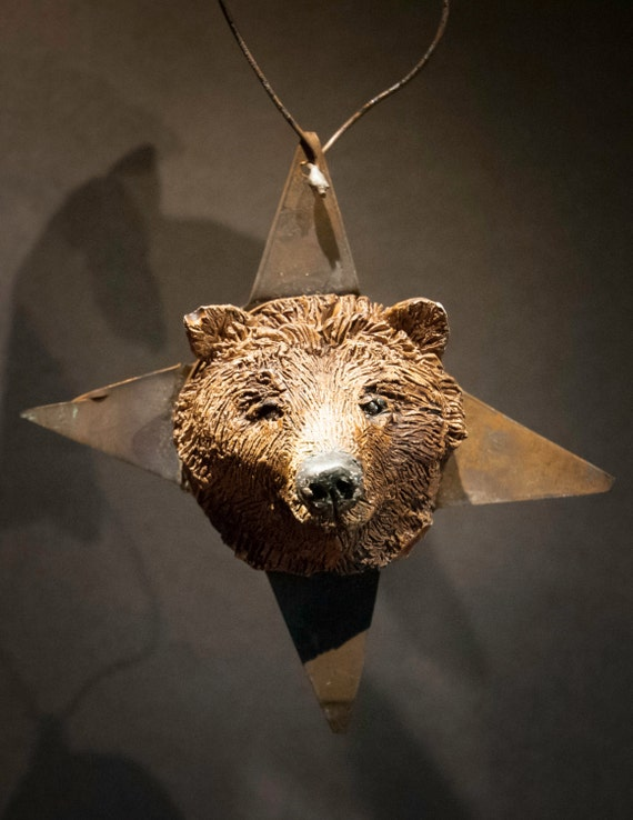 Whimsical Rusted Tin Star Bear Vintage Holiday Tree Ornament