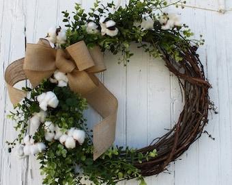 Natural Cotton Boll Wreath, Farmhouse Decor, Boxwood Wreath, Cotton Wreath, Door Wreath, Wedding Decor, Spring Wreath, 2nd Anniversary Gift