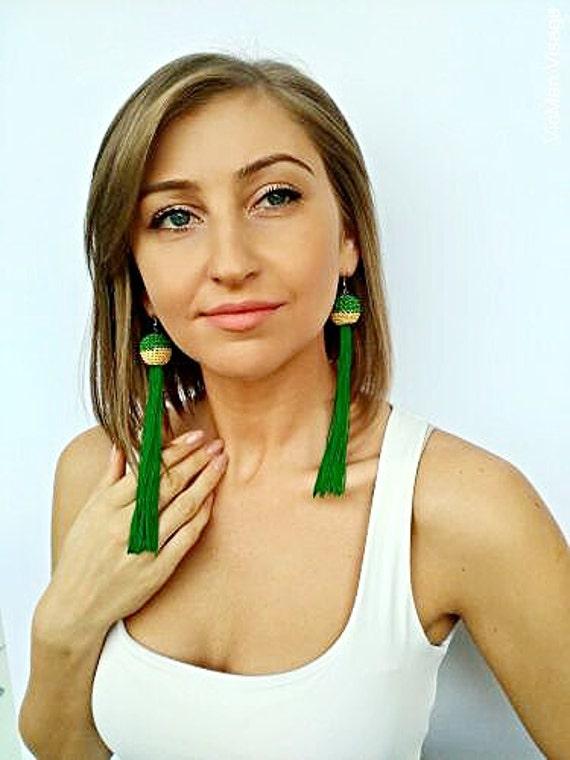 Tassel Earrings Green Earrings Boho earrings Jewelery Dangle earrings Rope earrings Long Tassel Earrings Bohemian Fringe Gift for her