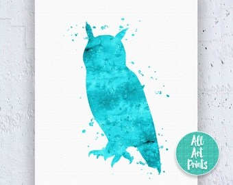 Owl Print Owl Painting Owl Wall Art Owl Art Print Owl Illustration Watercolor Printable Red Wall Art Living Room Wall Art Instant Download