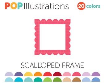 Scallop Frame Clip-Art Commercial Use | Scallop Border Clip-Art | Scalloped Clip-Art | A0122
