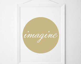 Imagine Poster, Imagination Print, Minimalist Design, Scandinavian Art, Wall Decor, Nursery Print, Typography Poster, Quote Art Print, Cute