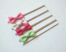 Baby Headband Set | Pink, Mint Green & Floral Hair Bows | Nylon Headbands | Small Baby Bows | itty-bitty bows | Set of 4 baby headbands