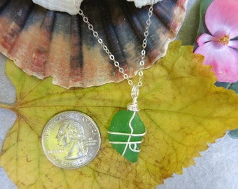 Green sea glass necklace wrapped in silver wire, beach glass necklace