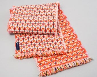Coral, Orange & Lime Handwoven Lambswool Scarf - Triangle Design