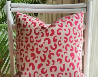 Pink Cheetah Leopard Animal Print Pillow Cover - pink, hot pink, light gray