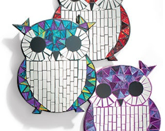 Mini curious owl mosaic wall art mirror