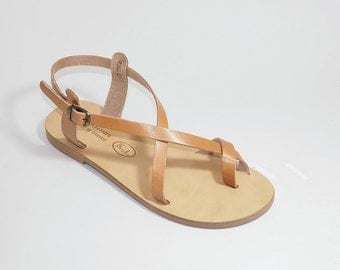 Greek Leather Sandals (38 - Black)