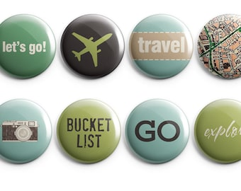 8 Globetrotter buttons - Christmas gift - Travel Buttons - Map - Vintage Camera - traveler buttons - project life - stocking stuffer (B001)
