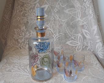 Hand Painted Decanter Set -  Vintage 1960s Blue Glass