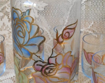Hand Painted Decanter Set -  Vintage 1960s Glass