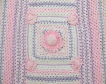 Crochet Baby Blanket Flower Baby Afghan Baby Shower Gift  Nursery Bedding Kids and Baby Pretty Baby Blanket Crochet Baby Girl Blanket