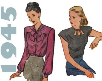 "1940s Blouse Pattern Keyhole Neckline SIMPLICITY 1430 bust 32"" Tie Neck Blouse Vintage Blouse 1940s Sewing Pattern 1940s Womens Clothes"