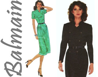 Double Breasted Dress Military Dress 80s Dress Pattern VOGUE Paris Original 2309 sz 16 b 38 BALMAIN 1980s Designer Dress Fitted Dress