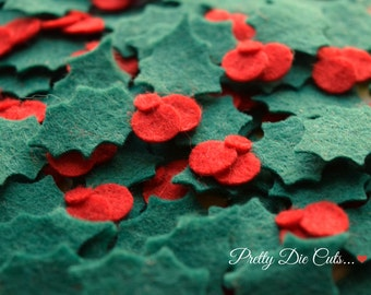 Felt Holly, Holly Leaves with Berries, Holly Leaf, Christmas Felt Shapes, Pretty Die Cut Christmas Craft Embellishments