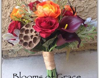 Fall wedding bouquet, roses, calas, ranunculus, suculent. Wedding flowers.
