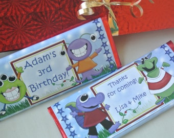 Monster Birthday party favors, personalized candy bar wrappers, party decorations, birthday favours, boy birthday invitation