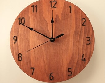 Pine Mahogany color clock Modern clock Wood clock Wall clock Wooden wall clock Home clock Home decor Office clock Plain clock Decorative