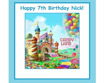 8 PERSONALIZED  PRINTED Candyland Party Bag or box Labels, Birthday, goody bag labels, treat bag labels, favor bag labels