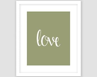 White Love Typography on Sage Green Print, Word Wall Art, Modern Art, Instant Download, DIY, Printable