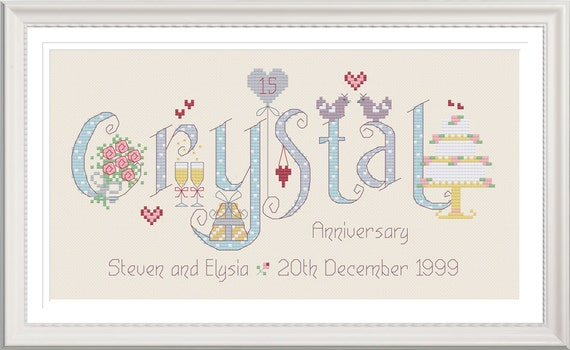 What Is The 15th Wedding Anniversary Gift: Crystal 15th Wedding Anniversary Customisable Cross Stitch