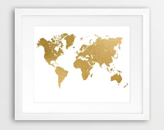 Gold world map map print world map printable printable wall world map print gold world map art world map gold foil texture modern gumiabroncs Image collections